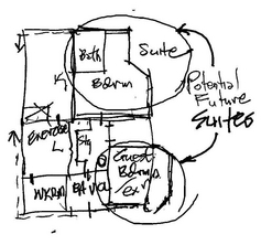 First floor initial conceptual design sketch catskill country house green rehab